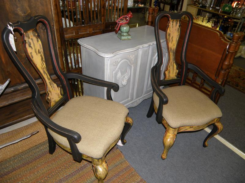 Pair of Painted Tortise Shell Chairs