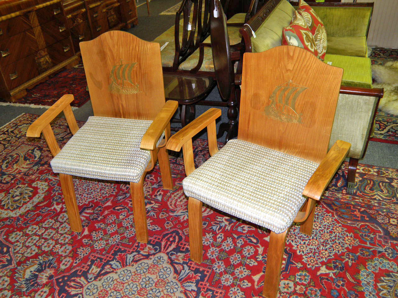 ... Pair Of Sunning Vintage Bentwood Chairs With Viking Ship Image ...