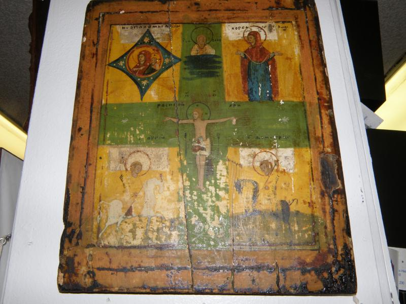 Russian Icon ca. 1600-1800. Southern Russian rural style icon with Crucifix bles