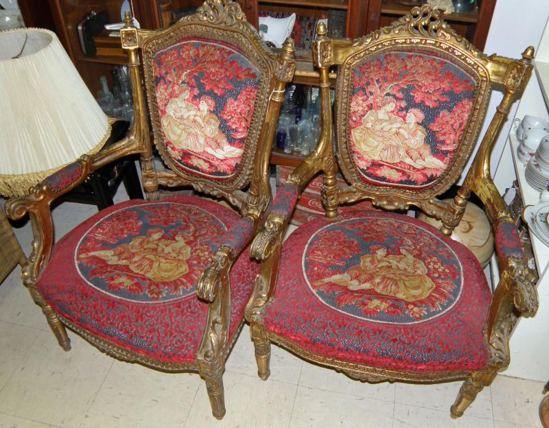 Set of four needle point dining arm chairs