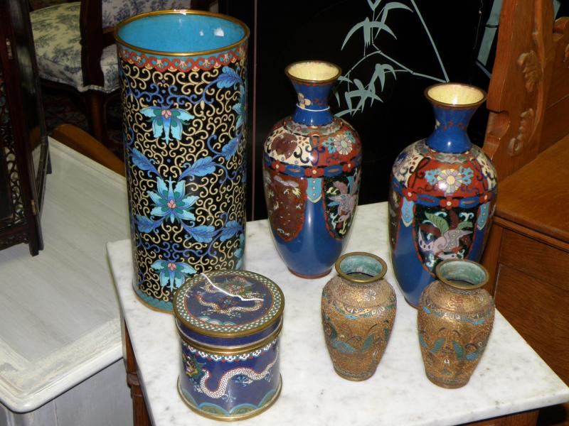 Signed Cloisonne Vase,  19th C Chinese Cloisonne Box, Pair 1860 Russian Vasees,
