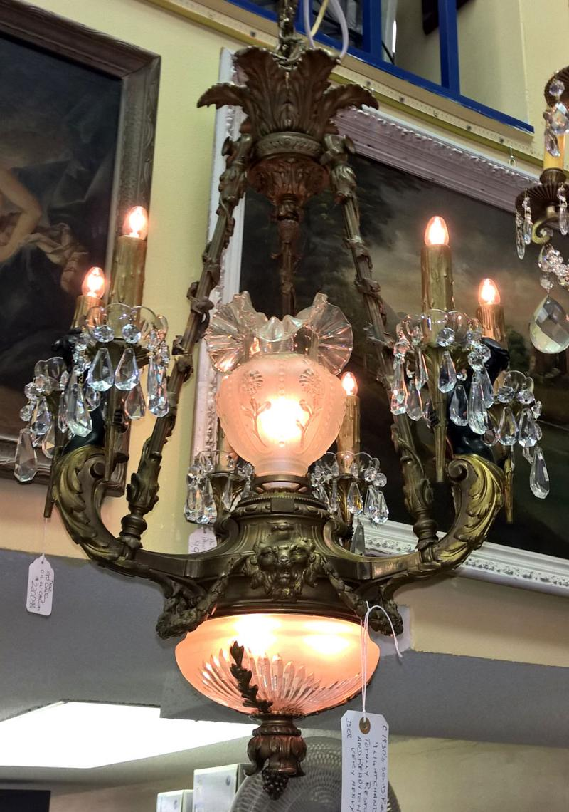 Solid Bronze French Chandelier, 1930's. Nine lights. All crystal. Three lights i