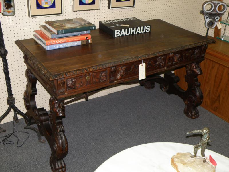 Spanish Walnut Carved Table with Iron Stretcher