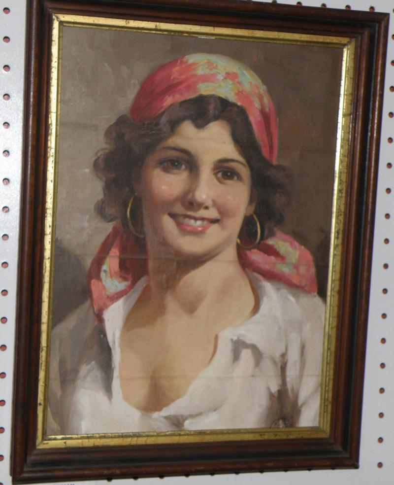 Spanish Young Lady, Oil on Canvas, 15 x 11  Ca. 1940