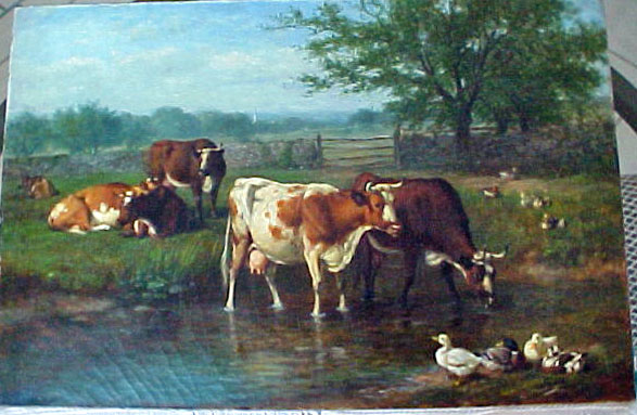 A. F. Tait: N. A. 1881 (Arthur Fitz-William) oil on canvas of cows and ducks.