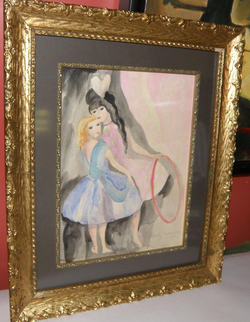 Two Girls oil on canvas by Marie Laurencin