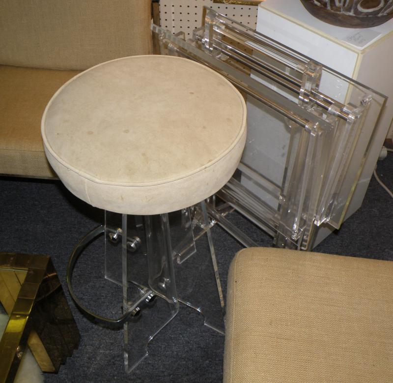 Unique Custom Designed and Fashioned Lucite Stools with Chrome Footrests and Sue