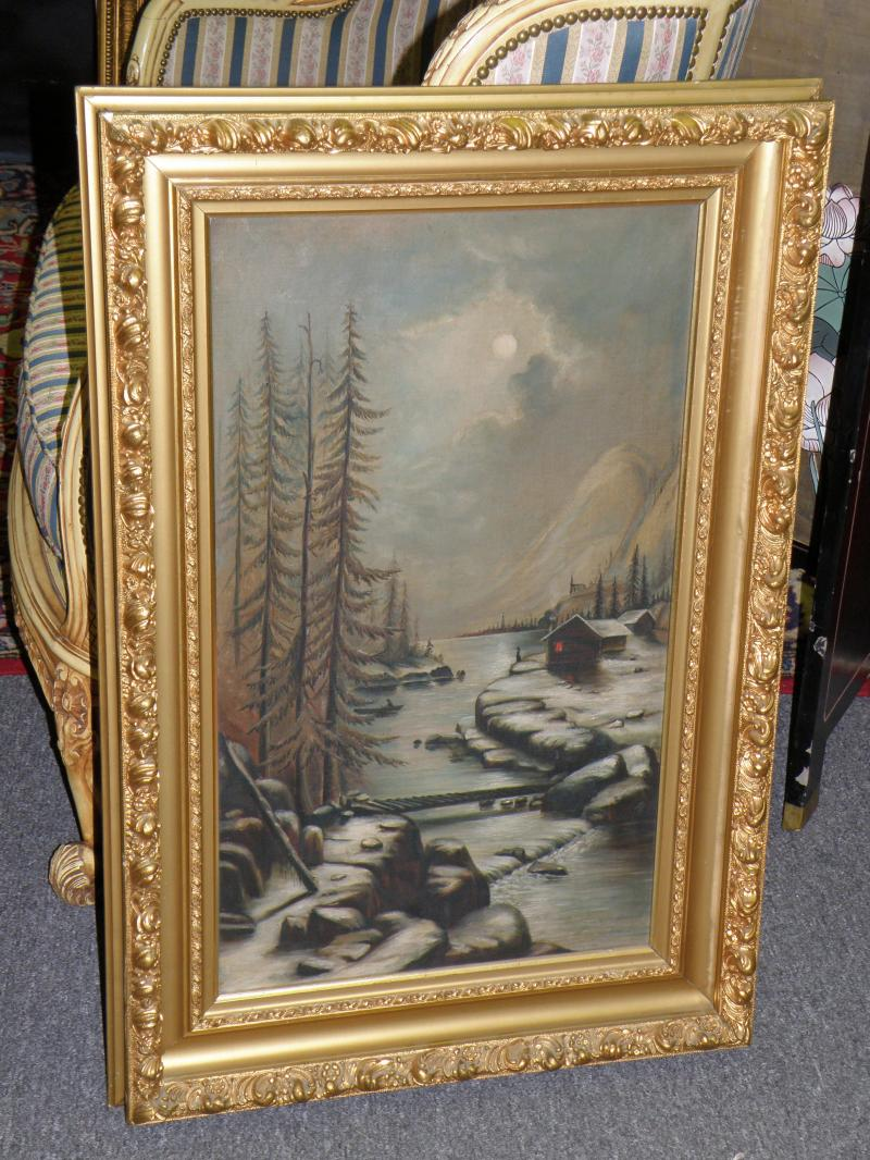 Waterfall and Mountains in gilt frame.  Large. oil on Canvas
