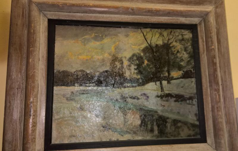 Winter Landscape by Listed American Artist. W. La Valley. 1920's